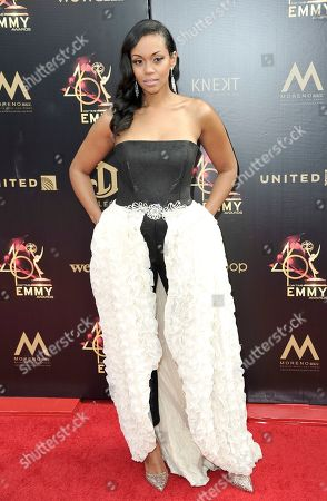 Mishael Morgan arrives at the 46th annual Daytime Emmy Awards at the Pasadena Civic Center, in Pasadena, Calif