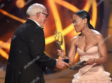 """Max Gail, Robin Givens. Robin Givens, right, presents Max Gail with the award for outstanding supporting actor in a drama series for """"General Hospital"""" at the 46th annual Daytime Emmy Awards at the Pasadena Civic Center, in Pasadena, Calif"""