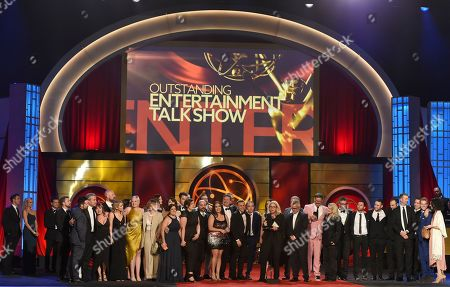 """Mary Connelly. The cast and crew of """"The Ellen DeGeneres Show"""" accept the award for outstanding entertainment talk show at the 46th annual Daytime Emmy Awards at the Pasadena Civic Center, in Pasadena, Calif"""