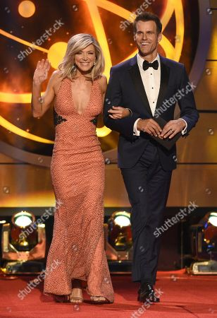 Debbie Matenopoulous, Cameron Mathison. Debbie Matenopoulos, left, and Cameron Mathison walk onstage to present the award for outstanding informative talk show at the 46th annual Daytime Emmy Awards at the Pasadena Civic Center, in Pasadena, Calif