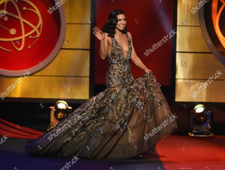 Camila Banus walks onstage to present the award for outstanding entertainment program in Spanish at the 46th annual Daytime Emmy Awards at the Pasadena Civic Center, in Pasadena, Calif