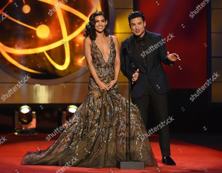 Camila Banu, Mario Lopez. Camila Banus, left, and Mario Lopez present the award for outstanding entertainment program in Spanish at the 46th annual Daytime Emmy Awards at the Pasadena Civic Center, in Pasadena, Calif