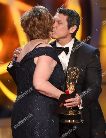 "Patricia Bethune, Lou Diamond Phillips. Lou Diamond Phillips, right, presents Patricia Bethune with the award for outstanding guest performer in a drama series for ""General Hospital"" at the 46th annual Daytime Emmy Awards at the Pasadena Civic Center, in Pasadena, Calif"