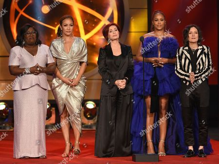 "Sheryl Underwood, Carrie Ann Inaba, Sharon Osborne, Eve, Sara Gilbert. Sheryl Underwood, from left, Carrie Ann Inaba, Sharon Osborne, Eve and Sara Gilbert of ""The Talk,"" present a tribute to Kathie Lee Gifford at the 46th annual Daytime Emmy Awards at the Pasadena Civic Center, in Pasadena, Calif"
