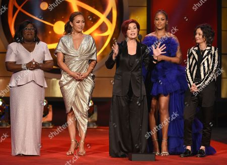 "Sheryl Underwood, Carrie Ann Inaba, Sharon Osborne, Eve, Sara Gilbert. Sheryl Underwood, from left, Carrie Ann Inaba, Sharon Osborne, Eve, and Sara Gilbert of ""The Talk,"" present a tribute to Kathie Lee Gifford at the 46th annual Daytime Emmy Awards at the Pasadena Civic Center, in Pasadena, Calif"
