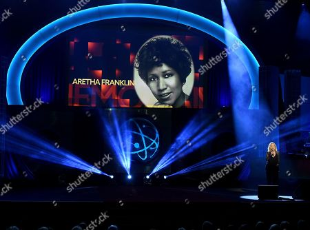 Roslyn Kind, Aretha Franklin. Roslyn Kind performs during the In Memoriam. Aretha Franklin appears on screen at the 46th annual Daytime Emmy Awards at the Pasadena Civic Center, in Pasadena, Calif