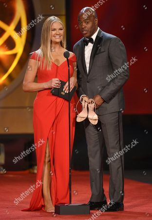 Nancy O'Dell, Kevin Frazier. Nancy O'Dell, left, and Kevin Frazier present the award for outstanding lead actor in a drama series at the 46th annual Daytime Emmy Awards at the Pasadena Civic Center, in Pasadena, Calif