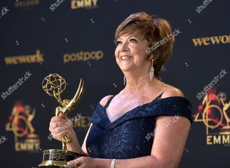 "Patricia Bethune poses in the press room with the award for outstanding guest performer in a drama series for ""General Hospital,"" at the 46th annual Daytime Emmy Awards at the Pasadena Civic Center, in Pasadena, Calif"