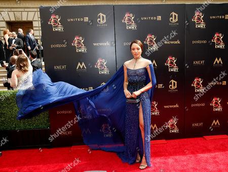 Mishael Morgan arrives at the 46th annual Daytime Emmy Awards at the Pasadena Civic Center in Pasadena, California, USA, 05 May 2019.