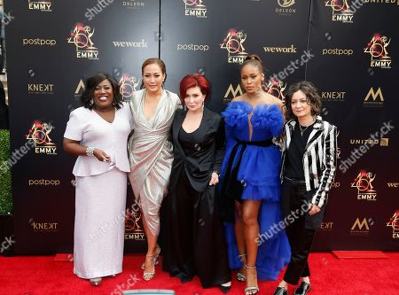 Sheryl Underwood, US television host Carrie Ann Inaba, British television personality Sharon Osbourne, US rapper Eve and US actress Sara Gilbert arrive at the 46th annual Daytime Emmy Awards at the Pasadena Civic Center in Pasadena, California, USA, 05 May 2019.