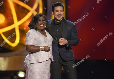 Mario Lopez, Sheryl Underwood. Hosts Sheryl Underwood, left, and Mario Lopez speak at the 46th annual Daytime Emmy Awards at the Pasadena Civic Center, in Pasadena, Calif