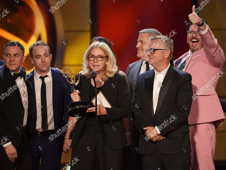 """Stock Photo of Mary Connelly, center, and the cast and crew of """"The Ellen DeGeneres Show"""" accept the award for outstanding entertainment talk show at the 46th annual Daytime Emmy Awards at the Pasadena Civic Center, in Pasadena, Calif"""