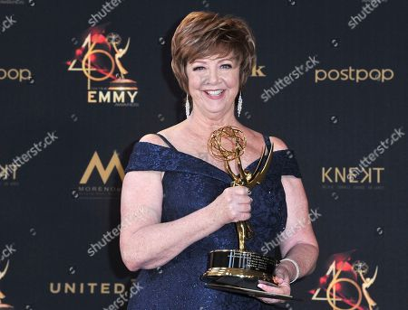 "Patricia Bethune poses in the press room with the award for outstanding guest performer in a drama series for ""General Hospital"" at the 46th annual Daytime Emmy Awards at the Pasadena Civic Center, in Pasadena, Calif"