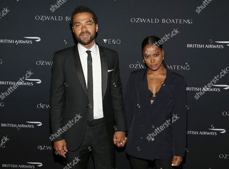 Jessie Williams, Taylour Paige. Actor Jessie Williams and Taylour Paige attend the Ozwald Boateng fashion show at the Apollo Theater, in New York