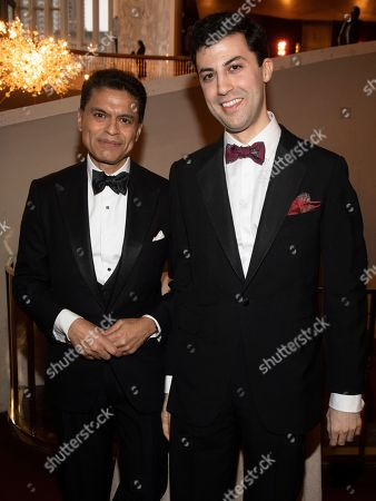 Fareed Zakaria, left, attends the Lincoln Center for the Performing Arts 60th Anniversary Diamond Jubilee Gala at Hearst Plaza, in New York