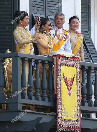 (L-R) Thai Princess Sirivannavari Nariratana, Princess Bajrakitiyabha, Thai King Maha Vajiralongkorn Bodindradebayavarangkun and Queen Suthida appear on a balcony of the Suddhaisavarya Prasad Hall in the Grand Palace as part of the monarch's the royal coronation ceremony in Bangkok, Thailand, 06 May 2019. The three-day ancient elaborate traditional coronation ceremonies of Thai King Maha Vajiralongkorn is a formal ceremony to complete the monarch's accession to the throne.