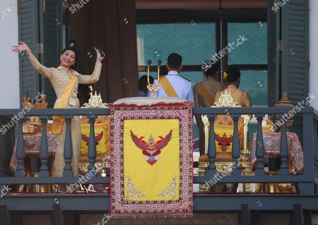 Thai Princess Sirivannavari Nariratana (L) waves to well-wishers as members of the Thai royal family appeared a balcony of the Suddhaisavarya Prasad Hall in the Grand Palace as part of Thai King Maha Vajiralongkorn Bodindradebayavarangkun's the royal coronation ceremony in Bangkok, Thailand, 06 May 2019. The three-day ancient elaborate traditional coronation ceremonies of Thai King Maha Vajiralongkorn is a formal ceremony to complete the monarch's accession to the throne.