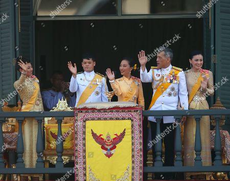 Members of the Thai royal family (L-R) Princess Sirivannavari Nariratana, Prince Dipangkorn Rasmijoti, Princess Bajrakitiyabha, King Maha Vajiralongkorn Bodindradebayavarangkun and Queen Suthida wave to well-wishers from a balcony of the Suddhaisavarya Prasad Hall in the Grand Palace as part of the monarch's the royal coronation ceremony in Bangkok, Thailand, 06 May 2019. The three-day ancient elaborate traditional coronation ceremonies of Thai King Maha Vajiralongkorn is a formal ceremony to complete the monarch's accession to the throne.