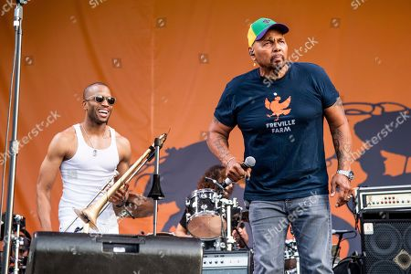 Stock Picture of Aaron Neville, Trombone Shorty. Aaron Neville, right, and Trombone Shorty perform at the New Orleans Jazz and Heritage Festival, in New Orleans