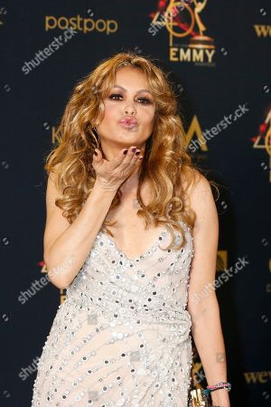 Stock Image of Paulina Rubio poses in the pressroom during the 46th annual Daytime Emmy Awards at the Pasadena Civic Center in Pasadena, California, USA, 05 May 2019.