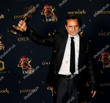 Maurice Benard poses with his Daytime Emmy Award in the pressroom after winning for 'Outstanding Lead Actor in a Drama Series' during the 46th annual Daytime Emmy Awards at the Pasadena Civic Center in Pasadena, California, USA, 05 May 2019.