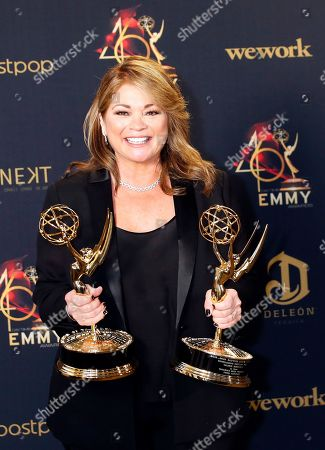 Valerie Bertinelli poses with her Daytime Emmy Awards in the pressroom after winning for 'Outstanding Culinary Program' and 'Outstanding Culinary Host' during the 46th annual Daytime Emmy Awards at the Pasadena Civic Center in Pasadena, California, USA, 05 May 2019.