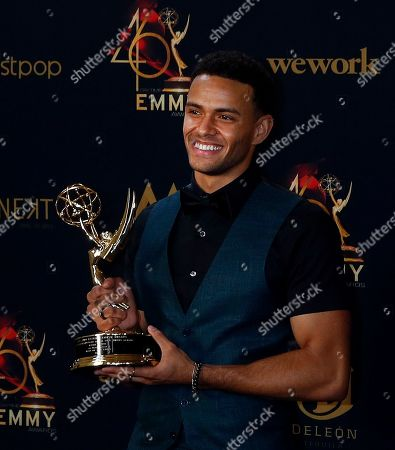 Kyler Pettis poses with his Daytime Emmy Award in the pressroom after winning for 'Outstanding Younger Actor in a Drama Series' during the 46th annual Daytime Emmy Awards at the Pasadena Civic Center in Pasadena, California, USA, 05 May 2019.