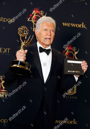 US-Canadian television gameshow host Alex Trebek poses with his Daytime Emmy Award in the pressroom after winning for 'Outstanding Game Show Host' during the 46th annual Daytime Emmy Awards at the Pasadena Civic Center in Pasadena, California, USA, 05 May 2019.