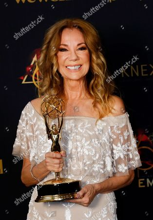 Kathie Lee Gifford poses with her Daytime Emmy Award in the pressroom after winning for 'Outstanding Informative Talk Show Host' during the 46th annual Daytime Emmy Awards at the Pasadena Civic Center in Pasadena, California, USA, 05 May 2019.