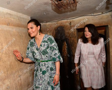 Crown Princess Victoria Minister for Foreign Trade Ann Linde in an old war shelter at the hotel Metropol. during the visit to Hanoi