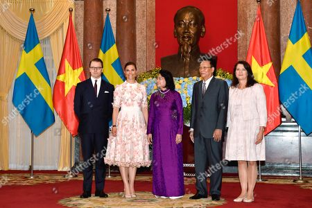 Crown Princess Victoria and Prince Daniel meet with Vice President of Vietnam Mrs. Dang Thi Ngoc Thinh, her husband and Ann Linde Minister for Foreign Trade during visit to the Presidential Palace in Hanoi