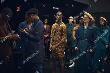 Stock Image of Models wait at the backstage before the Ozwald Boateng fashion show at Apollo Theater in New York
