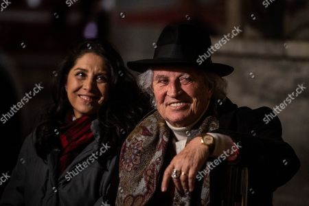 The Italian Cinematographer Vittorio Storaro and daughter Francesca, authors of the new lightning of Immaculate column during the inauguration
