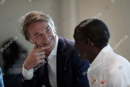 Marathon world record holder Kenya's Eliud Kipchoge and Britain's richest person Jim Ratcliffe, the founder of the INEOS Chemicals company, take questions from journalists at the Iffley Road Track, where in 1954 British athlete Roger Bannister ran to become the first person ever to break the four minute mile barrier in Oxford, England, . Eliud Kipchoge has funding from Britain's richest man, Jim Ratcliffe, who founded chemicals group INEOS, for his bid to break the two-hour marathon barrier again later this year