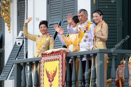 King Maha Vajiralongkorn, Queen Suthida. Thailand's royal family from left; Princess Sirivannavari Nariratana, daughter, Prince Dipangkorn Rasmijoti, son, Princess Bajrakitiyabha, daughter, King Maha Vajiralongkorn and Queen Suthida wave to an audience from the balcony of Suddhaisavarya Prasad Hall in the Grand Palace during the coronation ceremony, in Bangkok, Thailand. Vajiralongkorn was officially crowned amid the splendor of the country's Grand Palace, taking the central role in an elaborate centuries-old royal ceremony that was last held almost seven decades ago