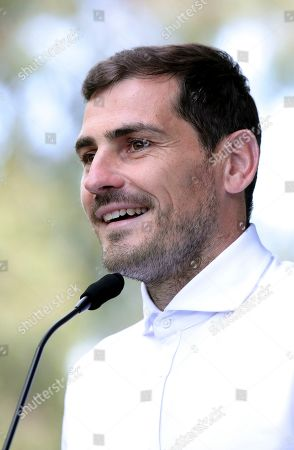 Spanish goalkeeper Iker Casillas talks to journalists outside a hospital in Porto, Portugal, . Veteran goalkeeper Iker Casillas had a heart attack during a training session with his Portuguese club FC Porto and was hospitalized May 1