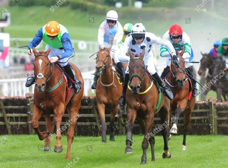 Down Royal CALICOJACK & Eoin Walsh (right) jump the last to win the Pepsi Max Opportunity Maiden Hurdle from INDIAN ADMIRAL & Liam McKenna (left)