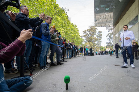 FC Porto's Spanish goalkeeper Iker Casillas speaks to journalists in front of the CUF Hospital in Porto, Portugal, 06 May 2019. Casillas was hospitalized since 01 May 2019 after suffering a heart attack during his team's training session.
