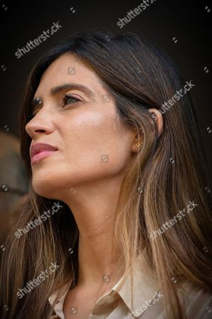 Stock Image of Sara Carbonero, wife of FC Porto's Spanish goalkeeper Iker Casillas, listens to her husband in front of the CUF Hospital in Porto, Portugal, 06 May 2019. Casillas was hospitalized since 01 May 2019 after suffering a heart attack during his team's training session.
