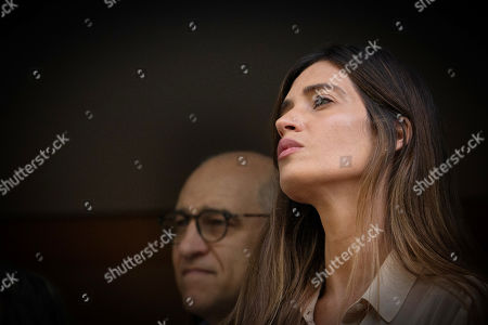 Sara Carbonero, wife of FC Porto's Spanish goalkeeper Iker Casillas, listens to her husband in front of the CUF Hospital in Porto, Portugal, 06 May 2019. Casillas was hospitalized since 01 May 2019 after suffering a heart attack during his team's training session.