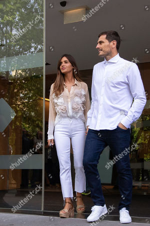FC Porto's Spanish goalkeeper Iker Casillas (R) and his wife Sara Carbonero (L) leave the CUF Hospital in Porto, Portugal, 06 May 2019. Casillas was hospitalized since 01 May 2019 after suffering a heart attack during his team's training session.