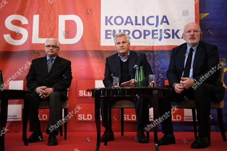 European commission Vice President Frans Timmermans (R) and former Polish President Aleksander Kwasniewski (C) during the debate on the future of the European Union in Warsaw, Poland, 06 May 2019. Frans Timmermans came to Poland to support the candidacy of former Prime Minister Wlodzimierz Cimoszewicz (L), who participates in the European Parliament elections