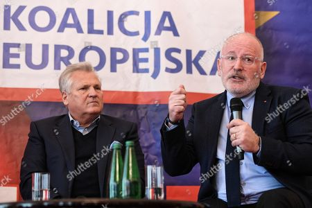 European commission Vice President Frans Timmermans (R) and former Polish President Aleksander Kwasniewski (L) during the debate on the future of the European Union in Warsaw, Poland, 06 May 2019. Frans Timmermans came to Poland to support the candidacy of former Prime Minister Wlodzimierz Cimoszewicz, who participates in the European Parliament elections