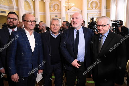 European commission Vice President Frans Timmermans (2R) and former Polish President Aleksander Kwasniewski (C) and the leader Democratic Left Alliance (SLD) Wlodzimierz Czarzasty (2L) during the debate on the future of the European Union in Warsaw, Poland, 06 May 2019. Frans Timmermans came to Poland to support the candidacy of former Prime Minister Wlodzimierz Cimoszewicz (R), who participates in the European Parliament elections