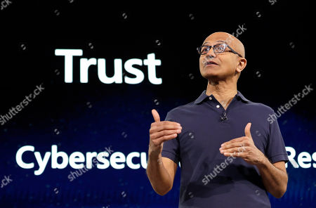 Microsoft CEO Satya Nadella delivers the keynote address at Build, the company's annual conference for software developers, in Seattle