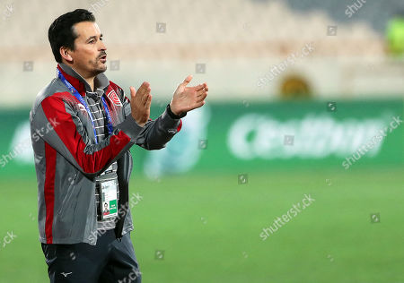 Al-Duhail's head coach Rui Faria reacts during the AFC Champions League group C soccer match between Esteghlal FC and Al-Duhail SC at the Azadi Stadium in Tehran, Iran, 06 May 2019.