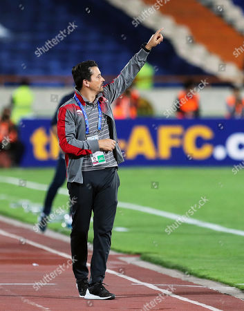 Stock Photo of Al-Duhail's head coach Rui Faria reacts during the AFC Champions League group C soccer match between Esteghlal FC and Al-Duhail SC at the Azadi Stadium in Tehran, Iran, 06 May 2019.