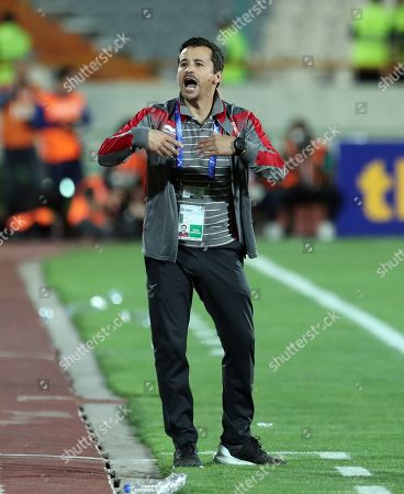 Al-Duhail head coach Rui Faria reacts during the AFC Champions League group C soccer match between Esteghlal FC and Al-Duhail SC at the Azadi Stadium in Tehran, Iran, 06 May 2019.