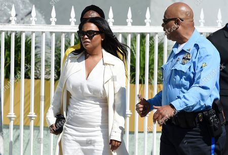 """Actress Nia Long, a cast member in director John Singleton's 1991 debut film """"Boyz n the Hood,"""" arrives at a memorial service for Singleton at Angelus Funeral Home, in Los Angeles. Singleton died on April 29 following a stroke"""