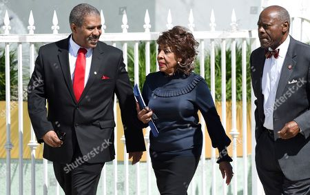 Congresswoman Maxine Waters arrives at a memorial service for the late film director John Singleton at Angelus Funeral Home, in Los Angeles. Singleton died on April 29 following a stroke